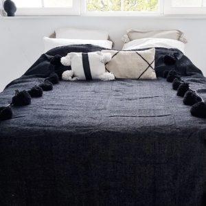 pom-pom-deken-zwart